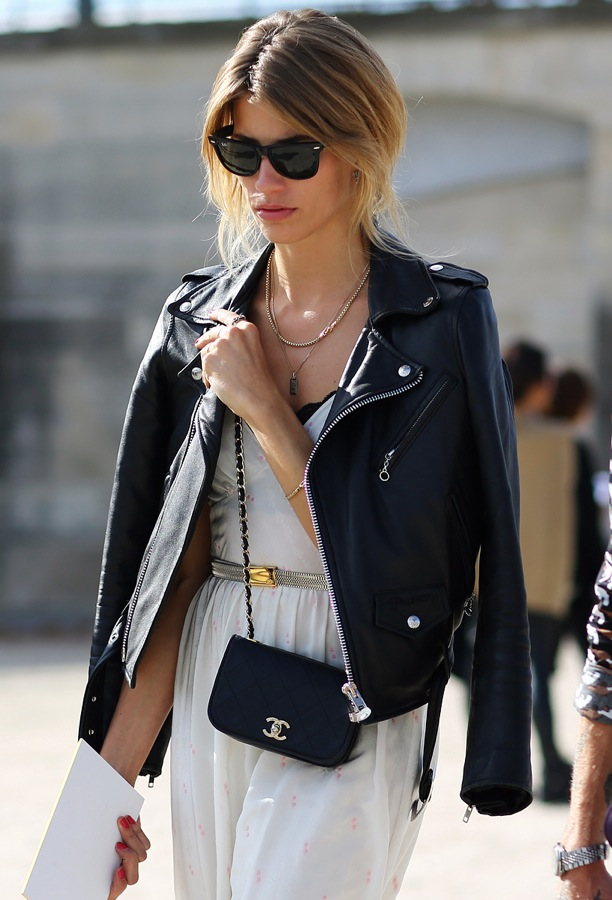 2a4c46b0afd street-style-leather-moto-jacket-over-the-shoulders-paris-fashion-week-ray- ban-wayfarer-sunglasses-layered-necklaces-simple-white-dress-peek-a-boo-bra-  ...