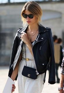 street-style-leather-moto-jacket-over-the-shoulders-paris-fashion-week-ray-ban-wayfarer-sunglasses-layered-necklaces-simple-white-dress-peek-a-boo-bra-metallic-waist-thin-belt-small-chai