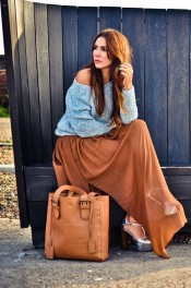 simona-mar-fashion-street-style-blog-mango-tan-maxi-floaty-sheer-skirt-romantic-river-island-off-shoulder-jumper-baby-blue-pale-nelly-trend-heels-french-connection-isla-tote-bag-1